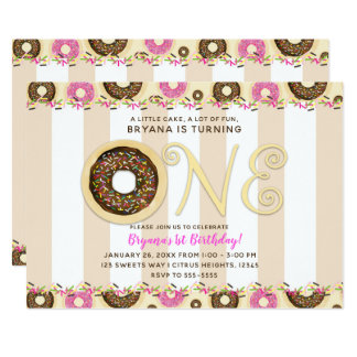 Brown Cream Sprinkle Donuts ONE 1ST Birthday Party Card