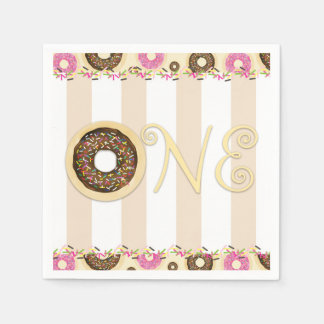 Brown Cream Sprinkle Donuts ONE 1ST Birthday Party Napkin