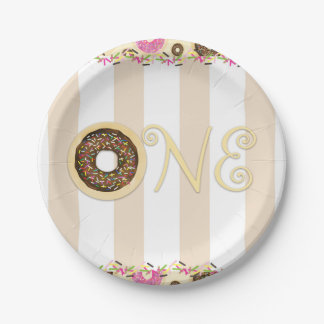 Brown Cream Sprinkle Donuts ONE 1ST Birthday Party Paper Plate