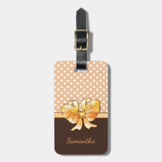 Brown, Creamy and White Dots, Faux Golden Ribbon Luggage Tag
