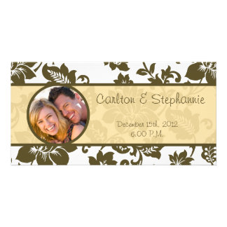 Brown/Creme Floral Damask Wedding Announcement Photo Greeting Card