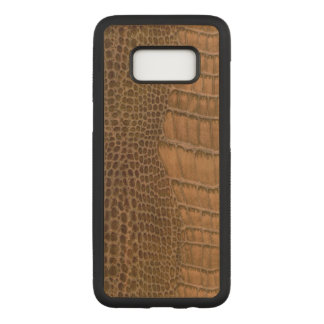 Brown Crocodile Imitation Faux Vegan Animal Carved Samsung Galaxy S8 Case