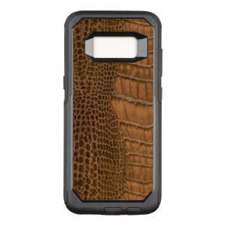 Brown Crocodile Imitation Faux Vegan Animal OtterBox Commuter Samsung Galaxy S8 Case