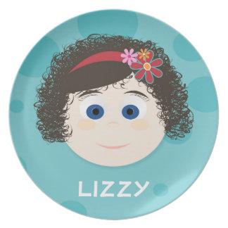 Brown Curly Q Dark Blue Eyes Girl Melamine Plate