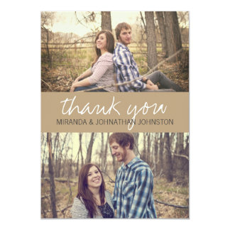 "Brown Cursive Photo Wedding Thank You Cards 5"" X 7"" Invitation Card"
