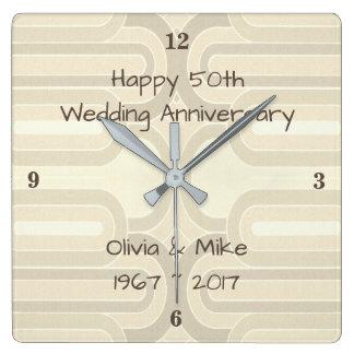Brown Curvy Lines  25th Silver Wedding Anniversar Square Wall Clock