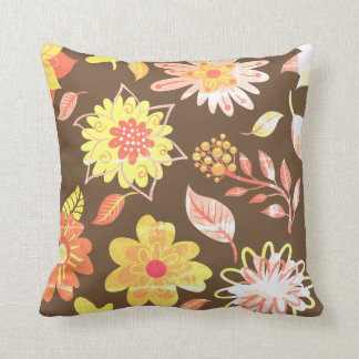 Brown cushion With Yellow Flowers of Primavera
