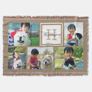 Brown Custom Monogrammed 5 Photo Picture Collage Throw Blanket