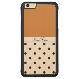Brown Custom Name, Black Polka Dots Monogram Carved Maple iPhone 6 Plus Bumper Case