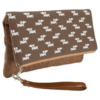 Brown Dachshund Foldover Clutch Bag