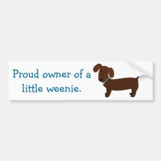 Brown Dachshund Owner Funny Bumper Sticker