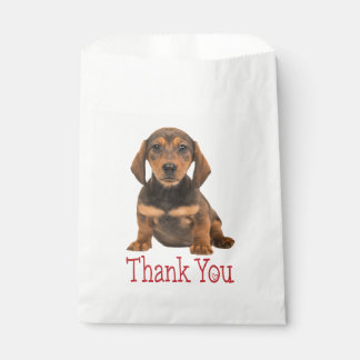 Brown Dachshund Puppy Dog Thank You Favour Bag