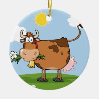 Brown Dairy Cow Ceramic Ornament
