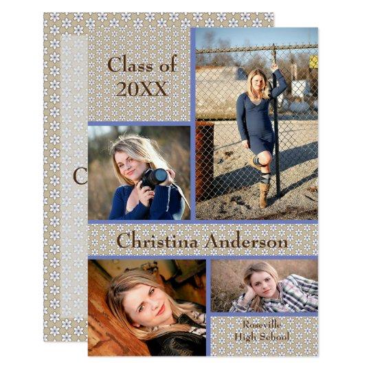 Brown Daisy Collage - 3x5 Graduation Announcement