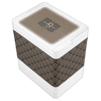 Brown Damask-24 Can Igloo Cooler