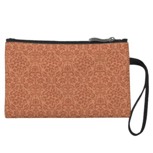 Brown Damask Accessory Clutch or Makeup Bag Wristlets