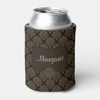 Brown Damask-Drink Can Cooler