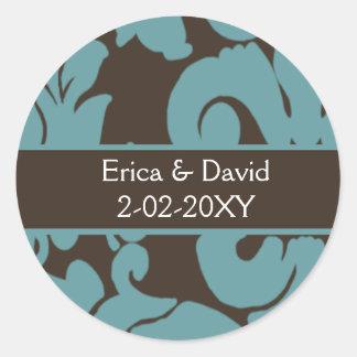 Brown Damask FAUX ribbon diamante design Classic Round Sticker