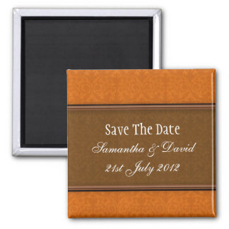 Brown Damask Monogram Save The Date Square Magnet