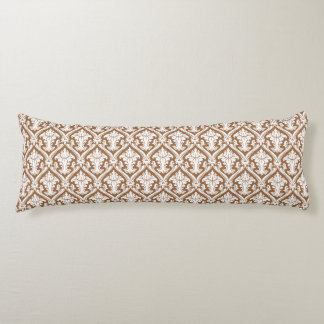 Brown Damask pattern body pillow