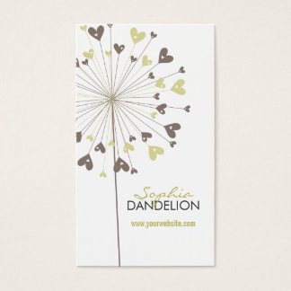 Brown Dandelions Love Hearts Whimsy Profile Card