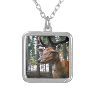 Brown Deer Near Trees Silver Plated Necklace
