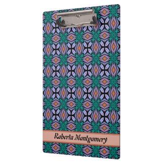 Brown Diamond And Violet Floral Fractal Pattern Clipboard