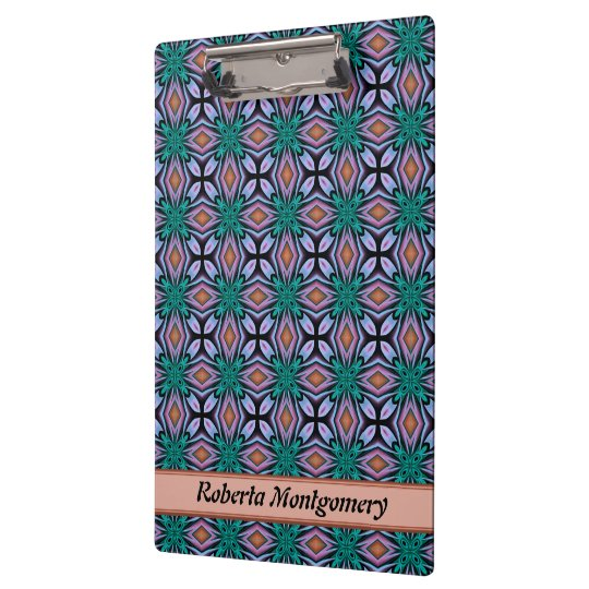 Brown Diamond And Violet Floral Fractal Pattern Clipboards