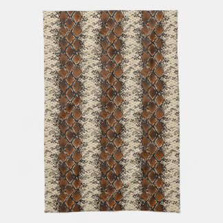 Brown Diamonds Snake Skin Pattern Kitchen Towel