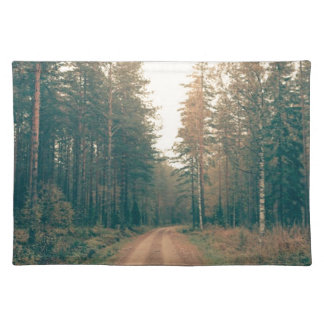 Brown Dirt Road Between Green Leaved Trees Daytime Placemat