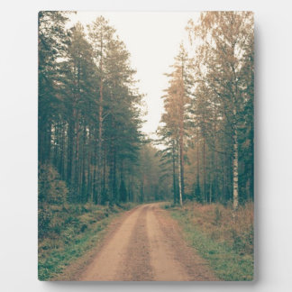 Brown Dirt Road Between Green Leaved Trees Daytime Plaque