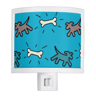 Brown Dog and Bone Graffiti Style Blue Night Light