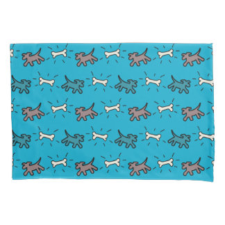 Brown Dog and Bone Graffiti Style Blue Pillowcase