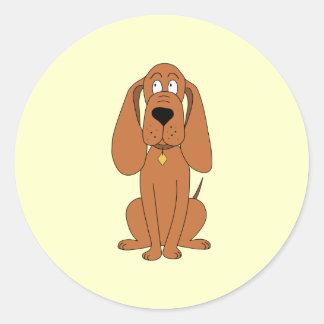 Brown Dog. Hound Cartoon with Collar. Classic Round Sticker