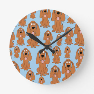 Brown Dogs on Light Blue. Round Clock