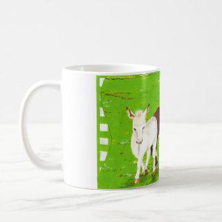 Brown donkey and white donkey mug