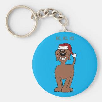 Brown Doodle Santa Keychain