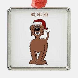 Brown Doodle Santa Metal Ornament
