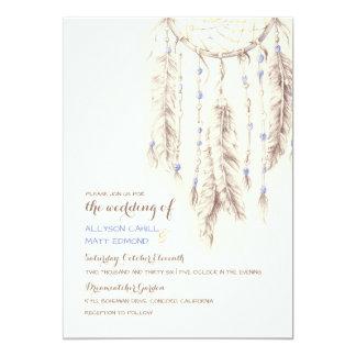 Brown Dreamcatcher Boho Wedding Invitation