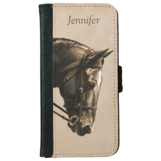 Brown Dressage Horse in Sepia iPhone 6 Wallet Case