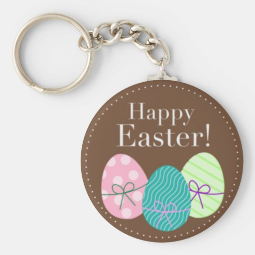 Brown Easter Eggs Happy Easter Keychain