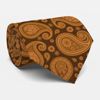Brown elegant vintage paisley pattern tie