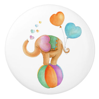 Brown elephant whimsy watercolor circus doorknob ceramic knob