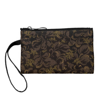 Brown Embroidery Coin Wallets