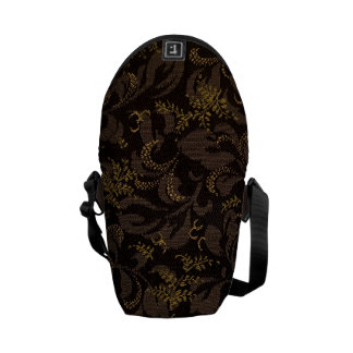 Brown Embroidery Courier Bag