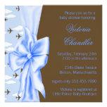 Brown et douche bleue de bébé d'avion invitations personnalisées