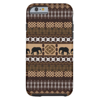 Brown et motif africain beige avec des éléphants coque iPhone 6 tough