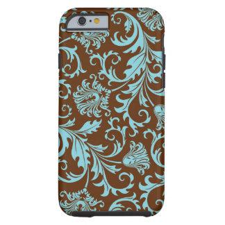 Brown et motif floral vintage bleu de damassés coque tough iPhone 6