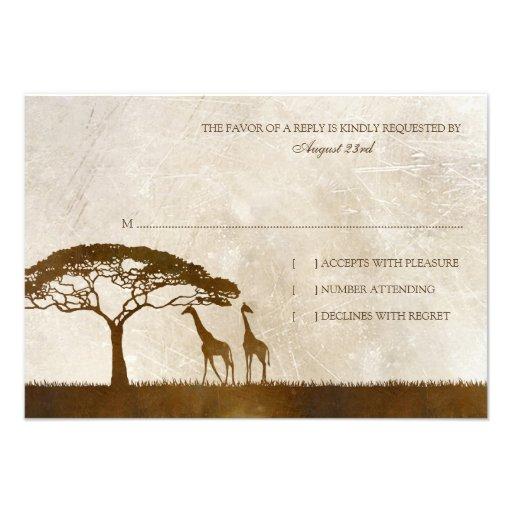 Brown et rsvp africain en ivoire de mariage de gir carton d'invitation