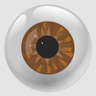Brown Eyeball Classic Round Sticker